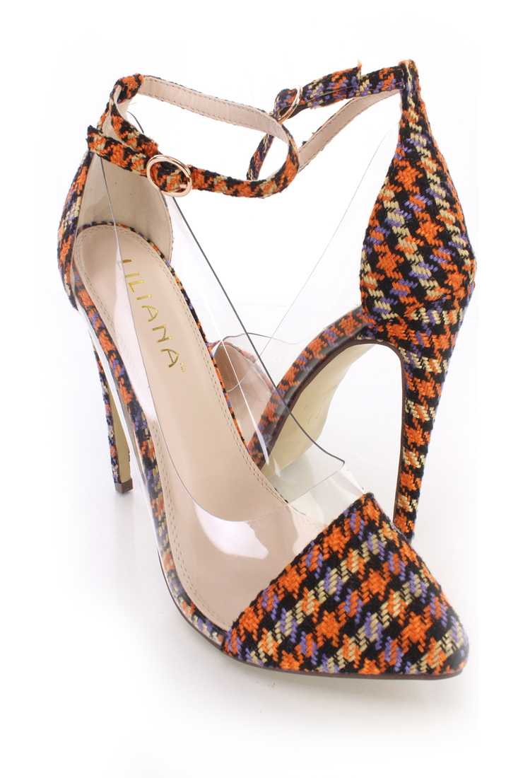 Orange Multi Pointed Toe Single Sole High Heels Tweed