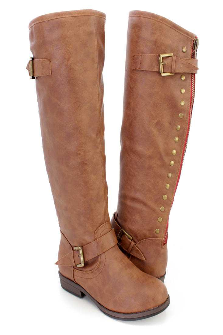Camel Studded Knee High Riding Boots Faux Leather