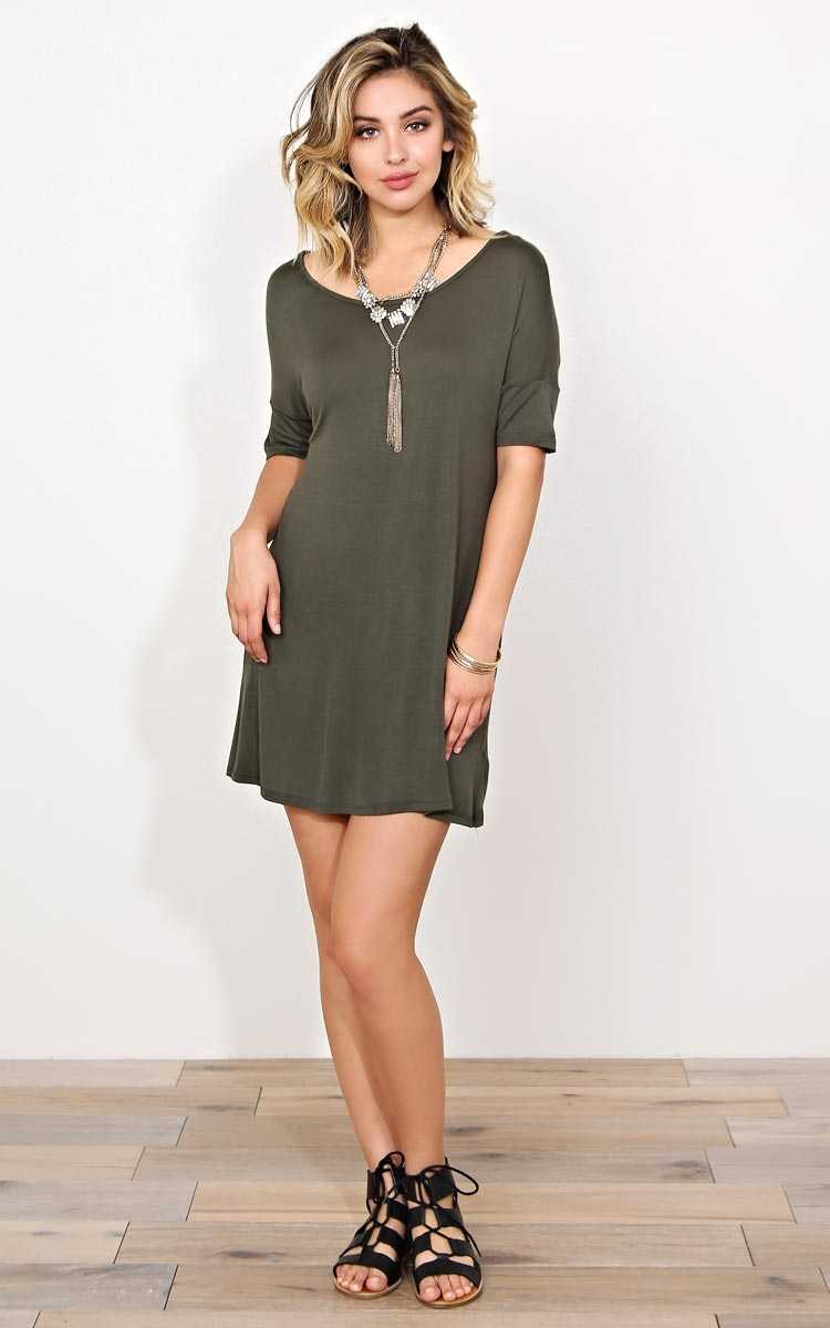 Olive Carter Knit T Shirt Dress - MED - Olive/Drab in Size Medium by Styles For Less