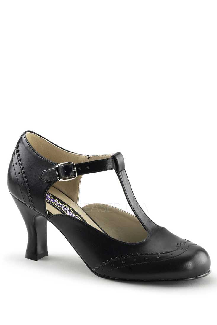 Black T Strap Winged Toe High Heels Faux Leather
