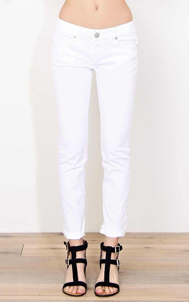 Paris Blues White Twill Pants - White in Size by Styles For Less