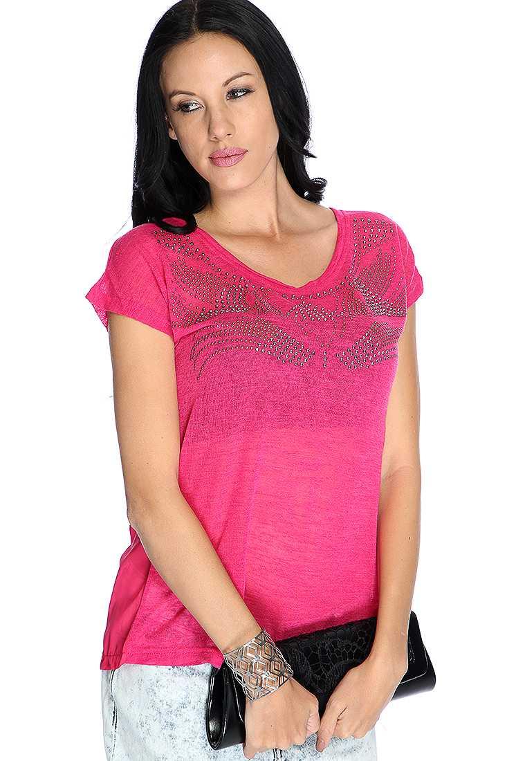 Fuchsia Short Sleeve Studded Design Slit Back Casual Top