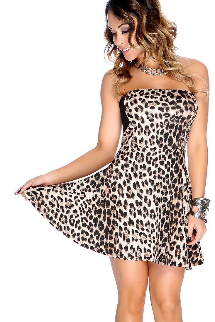 Beige Leopard Strapless Sexy Party Dress