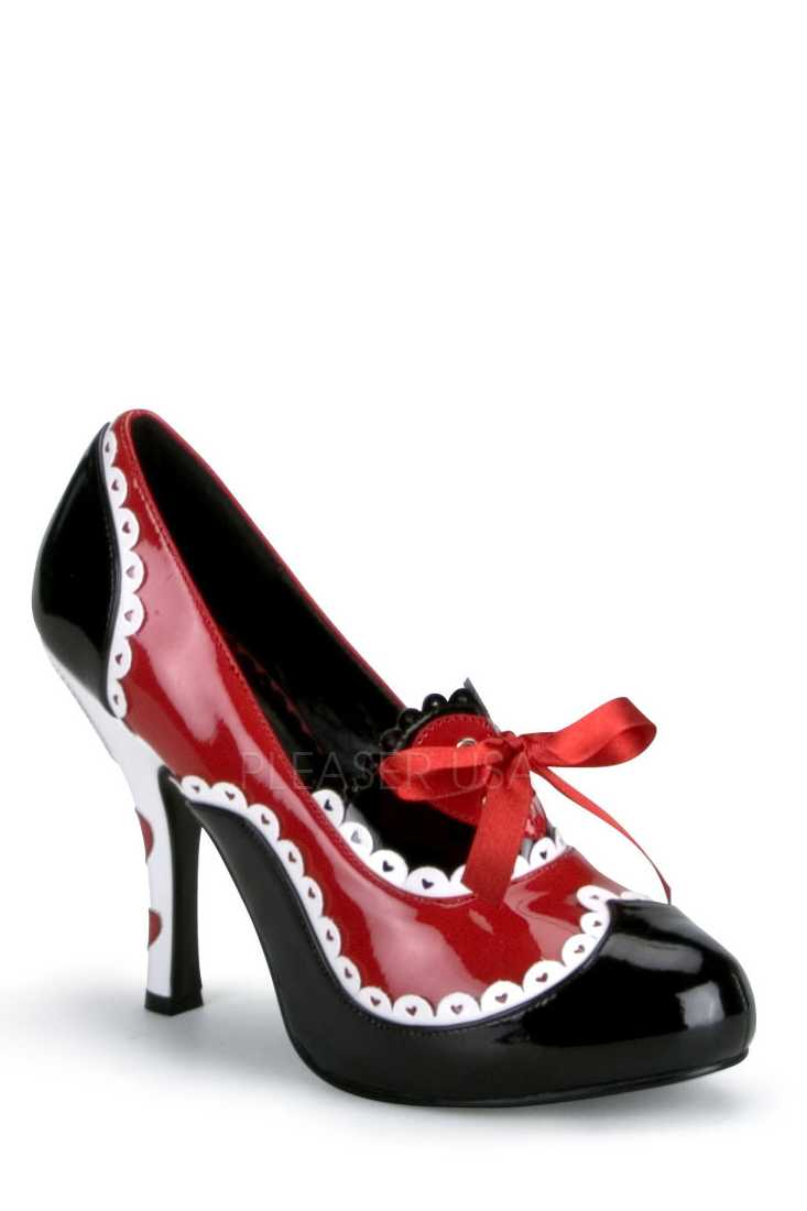 Black Red White Heart Scalloped High Heels Patent