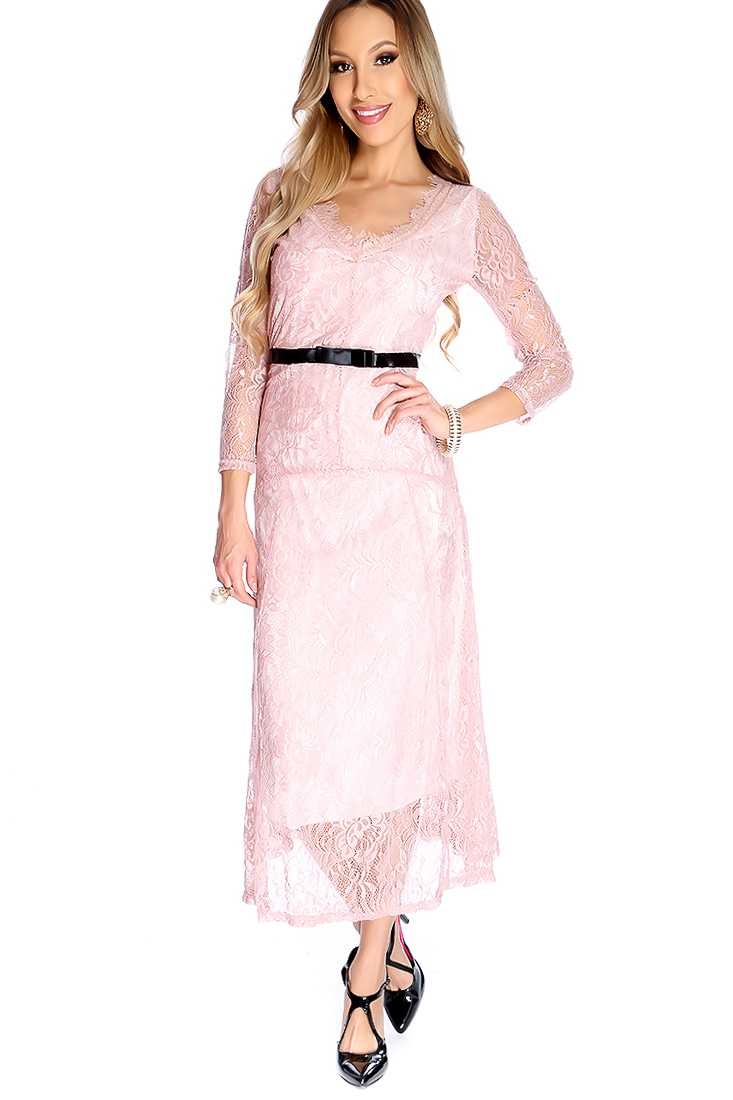 Sexy Dusty Pink Floral Lace Ribbon Waistband Midi Party Prom Dress