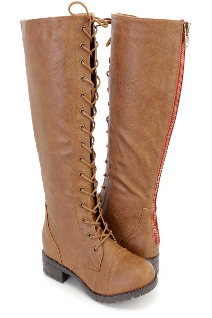 Camel Lace Up Mid Calf Combat Boots Faux Leather