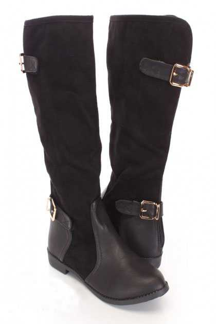 Black Mid Calf Strappy Boots Faux Suede Leather