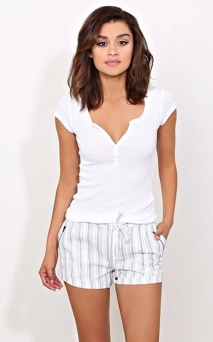 White Rib Knit Henley Top - LGE - White in Size Large by Styles For Less