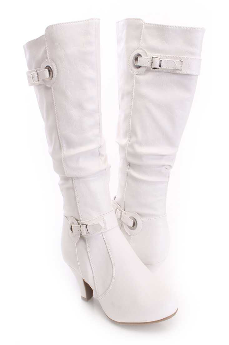 White Slouchy Knee High Boots Faux Leather