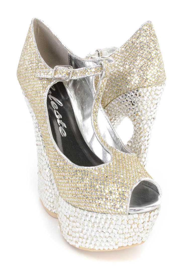 Silver Rhinestone T Strap Platform Heels Glitter