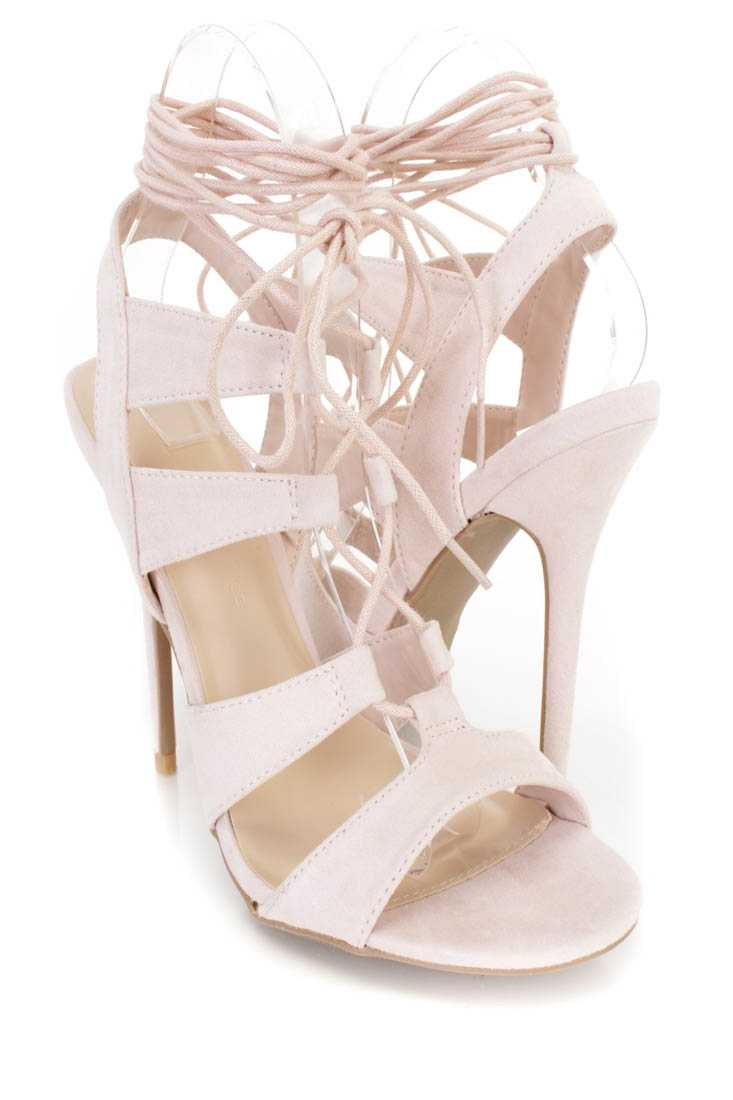 Nude Peep Toe Lace Up Single Sole Heels Faux Suede