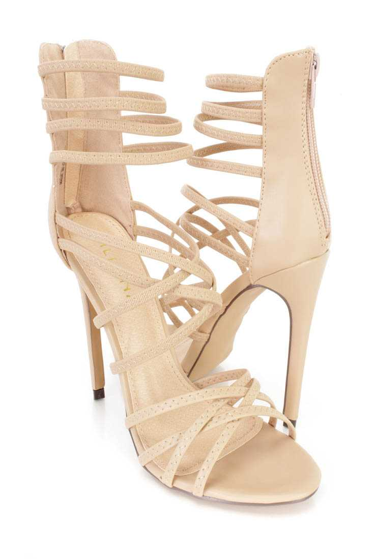 Nude Strappy Single Sole Heels Faux Leather
