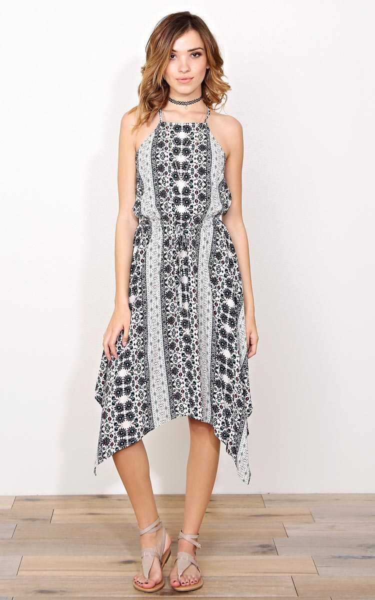 Jade Woven Handkerchief Dress - - Navy Combo in Size by Styles For Less