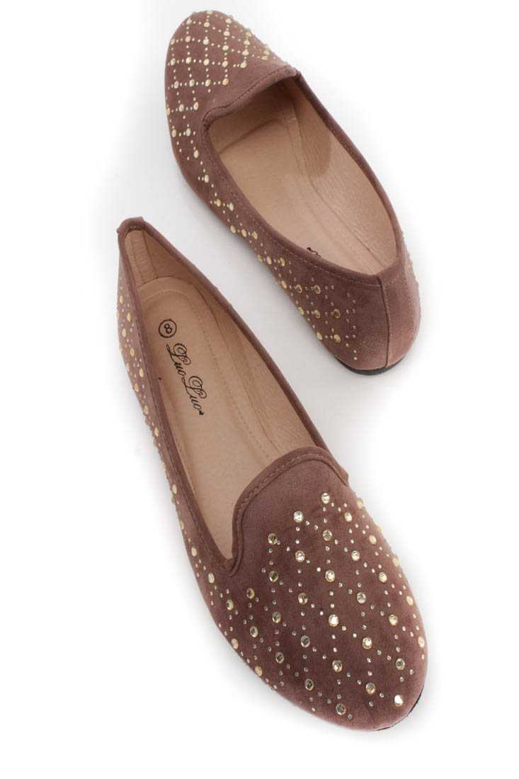 Brown Rhinestone Detail Flats Faux Suede