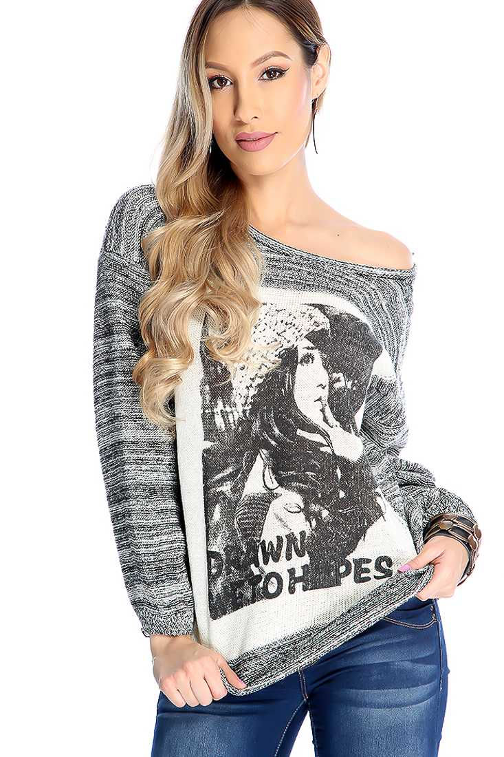 Black Ivory Long Sleeve Burn Out Graphic Knit Casual Sweater