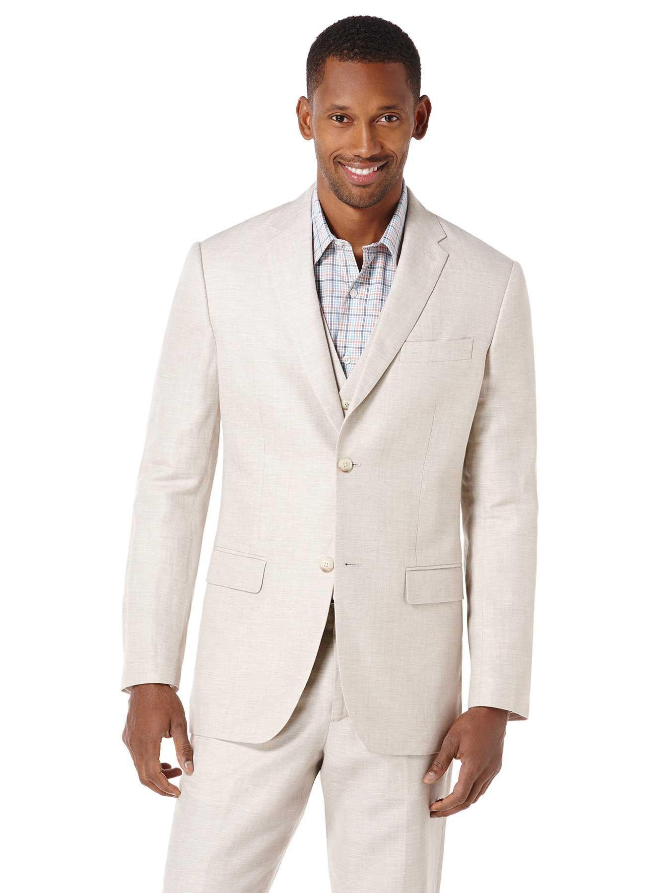 Perry Ellis Big and Tall Linen Cotton Herringbone Suit Jacket