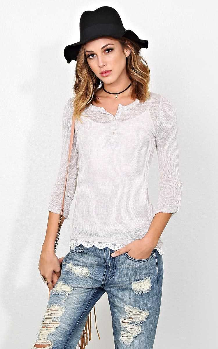 Aspen Slub Knit Henley Top - LGE - Taupe in Size Large by Styles For Less
