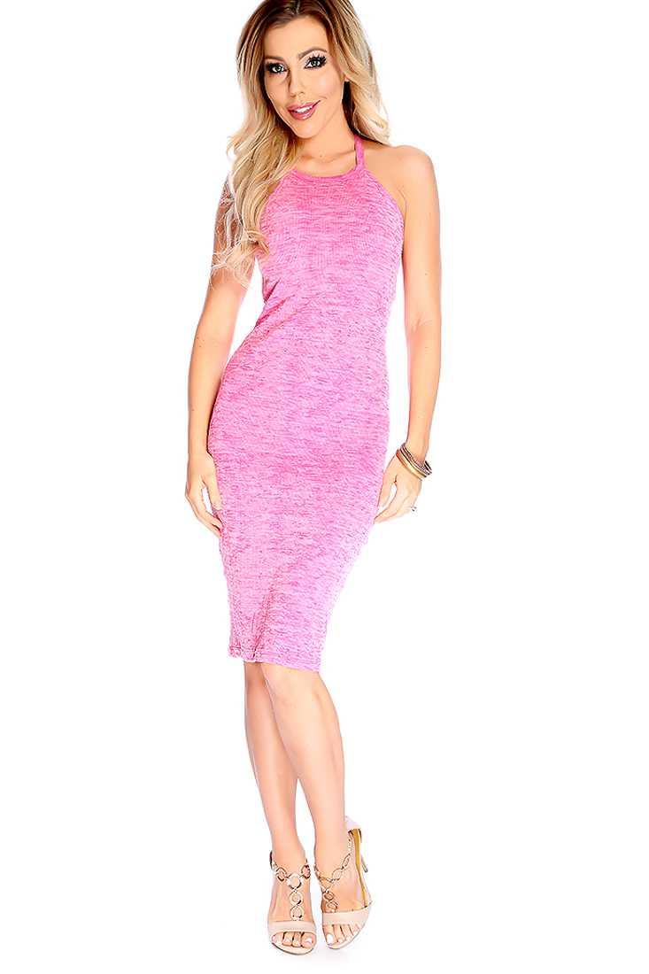 Sexy Pink Burnout Strappy Casual Bodycon Dress