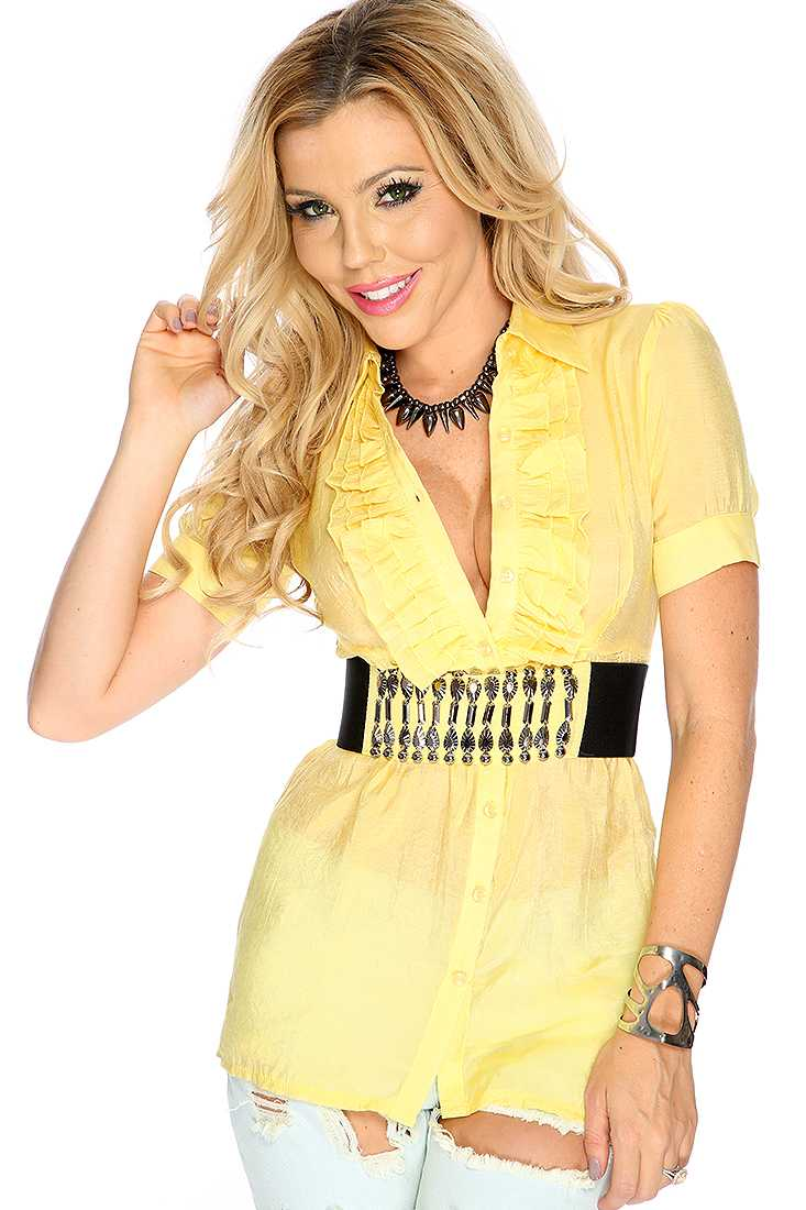 Yellow Button Up Casual Top