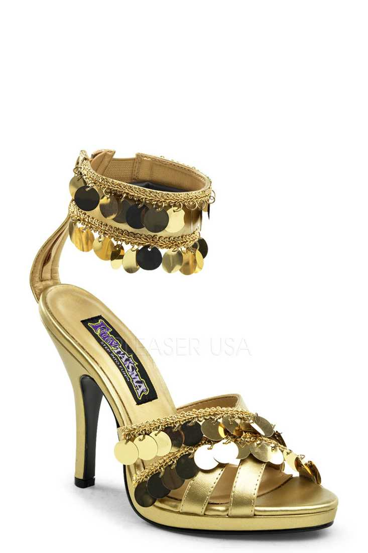 Gold Bohemian Chime Strappy High Heels Faux Leather