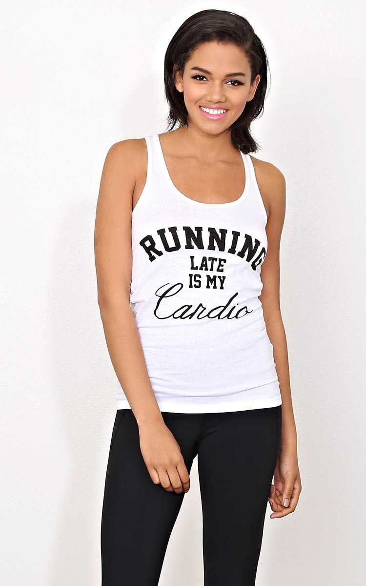 RUNNING LATE IS MY CARDIO Knit Tank - MED - White in Size Medium by Styles For Less