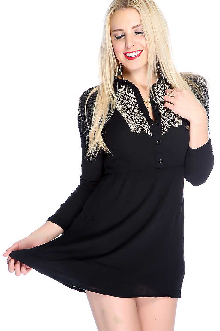 Sexy Black Long Sleeves Button Up Closure Knitted Casual Dress