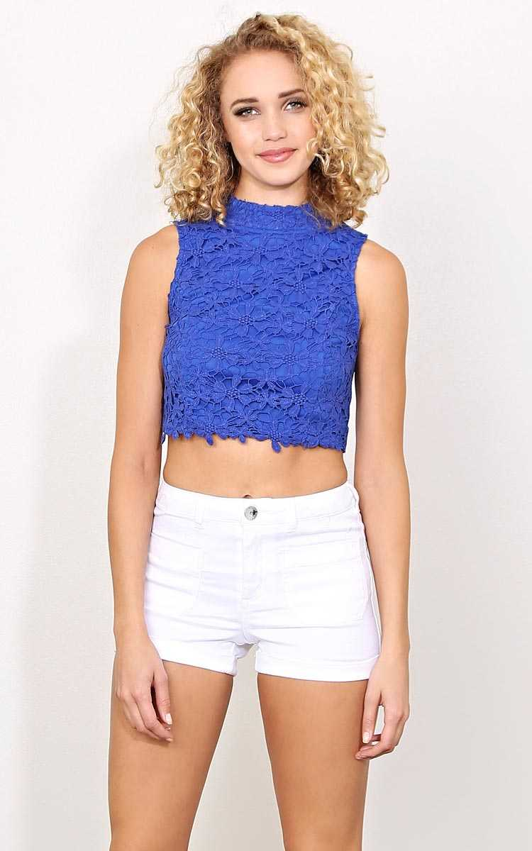 Lace Love Knit Tank - - Cobalt in Size by Styles For Less