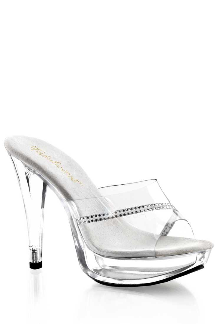 Clear Rhinestone Slip On High Heels PVC