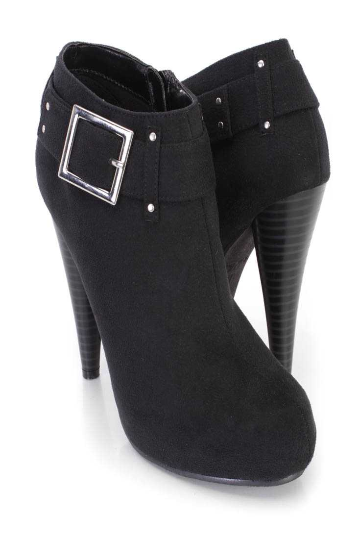 Black Buckle Strap High Heel Ankle Booties Faux Suede
