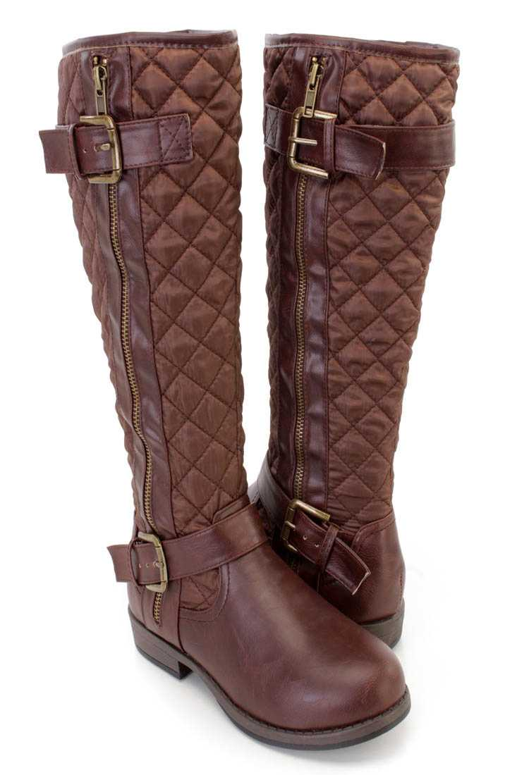 Brown Stitched Quilted Strappy Riding Boots Nylon