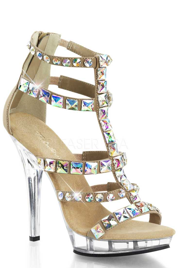 Taupe Jeweled T Strappy High Heels Matte Nubuck