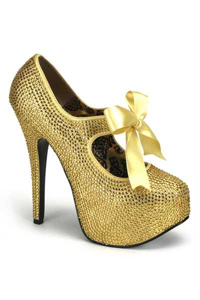 Gold Rhinestone Satin Bow Tie Platform High Heels