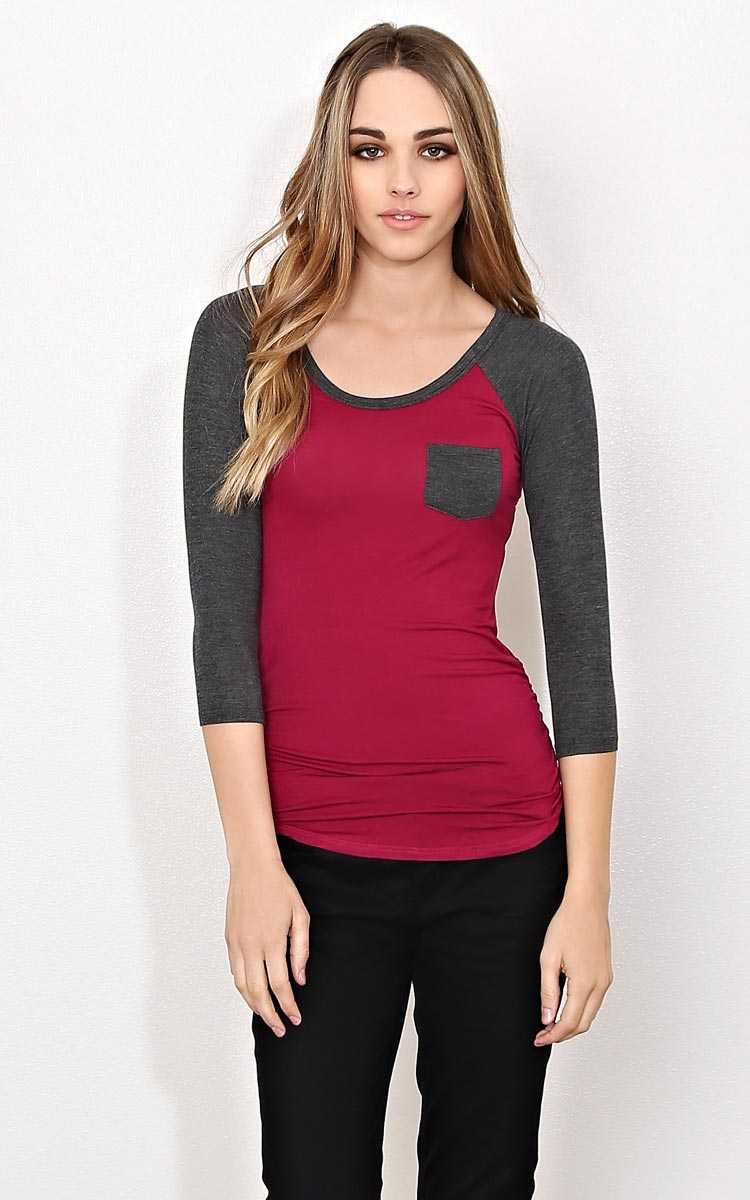 Wine Ruched Raglan Knit Top - LGE - Wine Combo in Size Large by Styles For Less