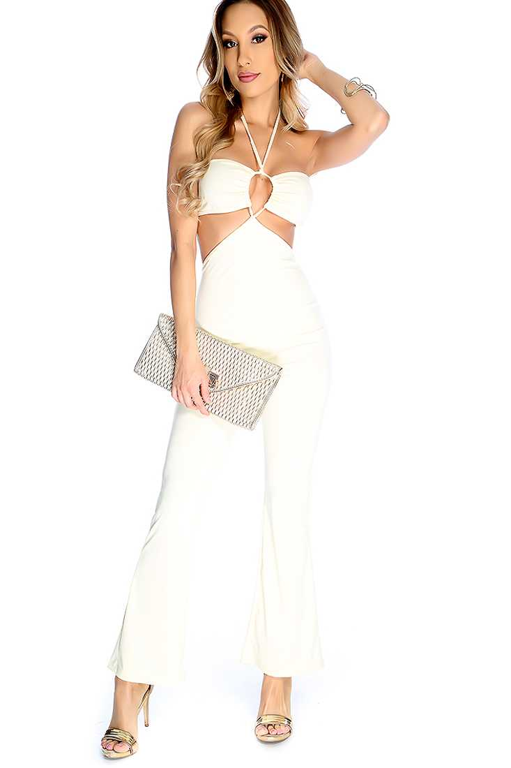 Sexy Cream V-Front Strap Cut Out Halter Jumpsuit