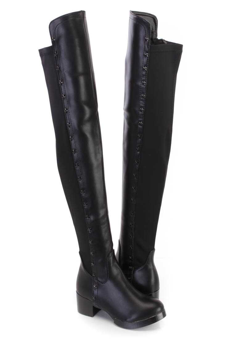 Black Star Studded Thigh High Riding Boots Faux Leather