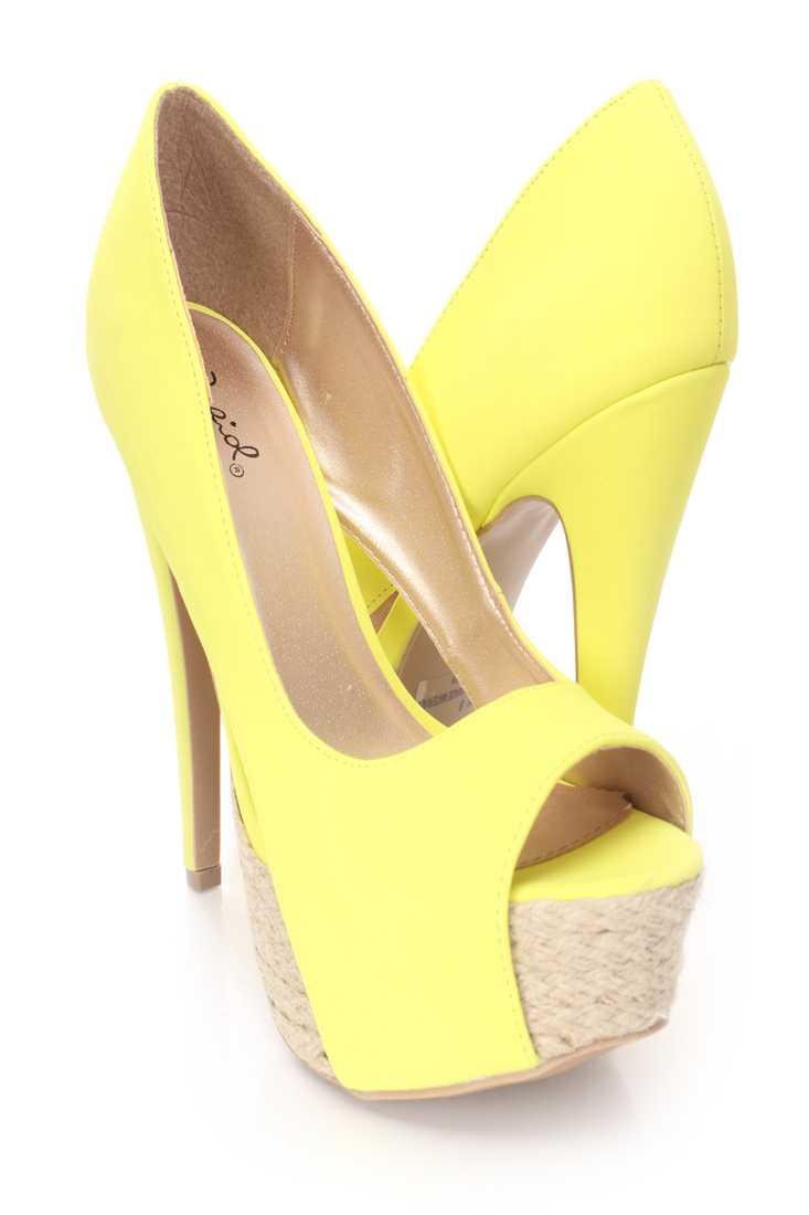 Neon Yellow Espadrille Platform Pump Heels Nubuck