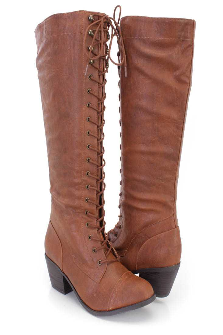 Cognac Lace Up Mid Calf Boots Faux Leather