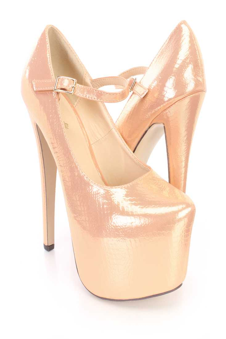 Nude Snake Imprint Mary Jane Platform Heels High Fabric