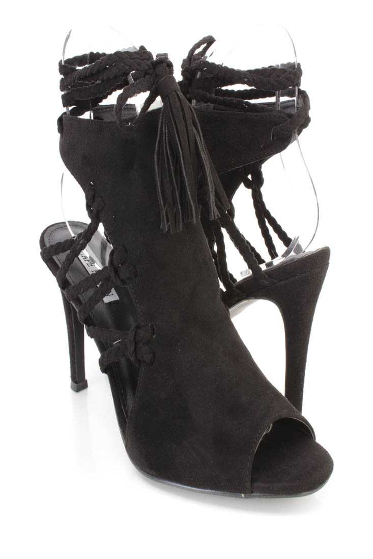 Black Wrap Around Braided Strappy Single Sole High Heels Faux Suede