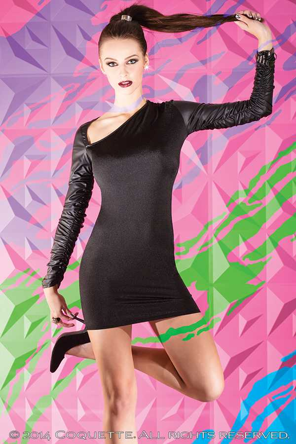 Black Stretch Knit Long Sleeve Dress