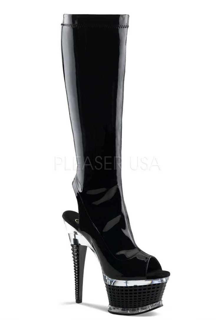 Black Open Toe Knee High Boots Platform Boots Patent