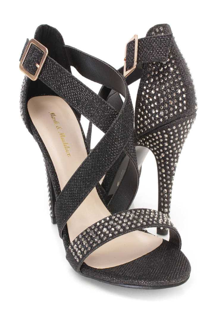 Black Rhinestone Cross Strappy Single Sole Heels Glitter