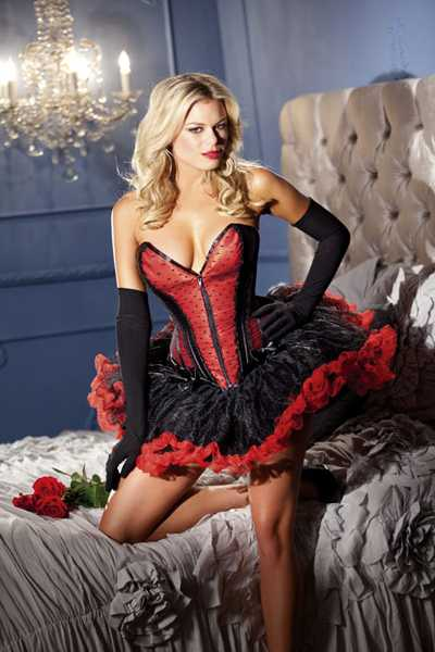 Red Zip Up Front Lace Overlay Ruffle Bow Accent Corset Top