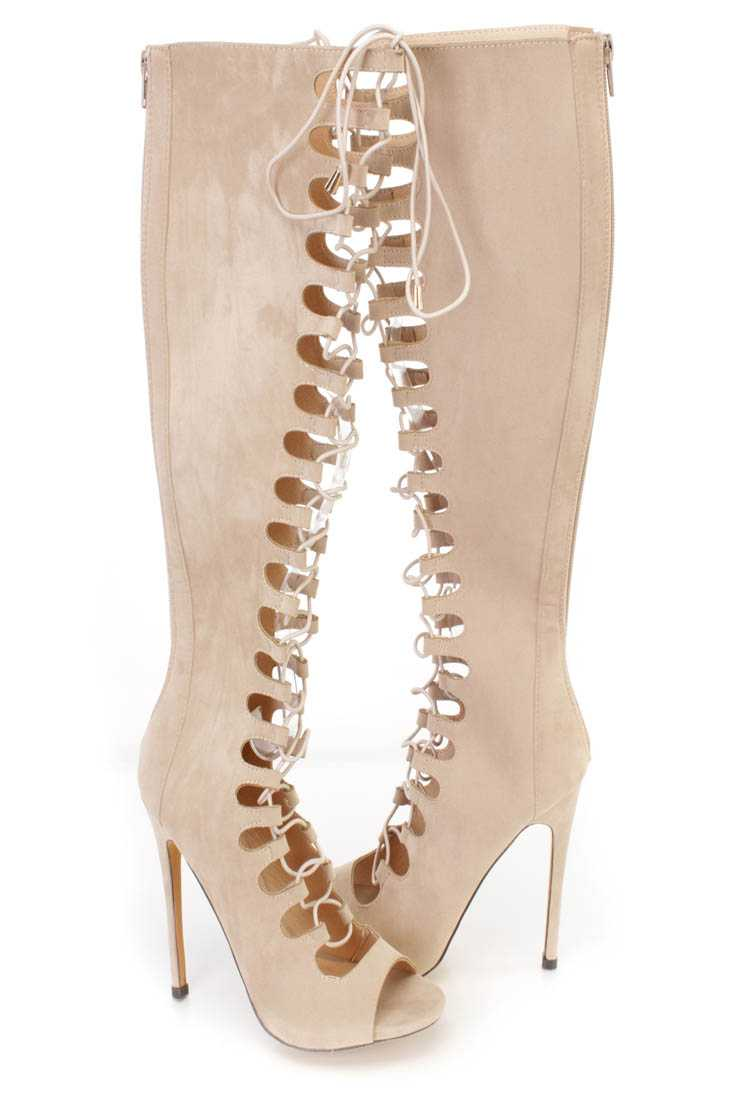 Nude Lace Up Single Sole High Heel Boots Faux Suede
