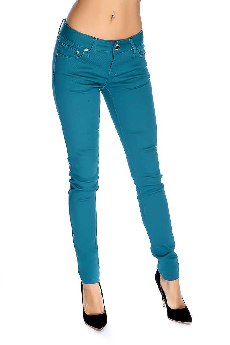 Teal Zip Fly Button Closure Skinny Jeans