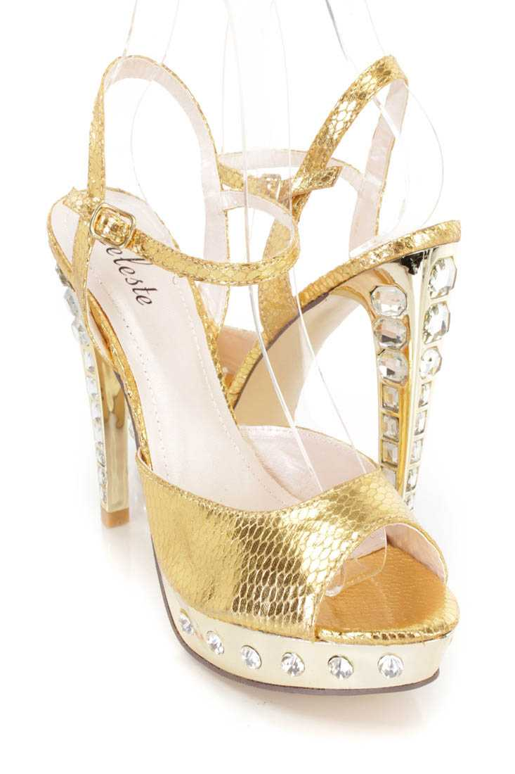 Gold Rhinestone Peep Toe High Heels Faux Leather
