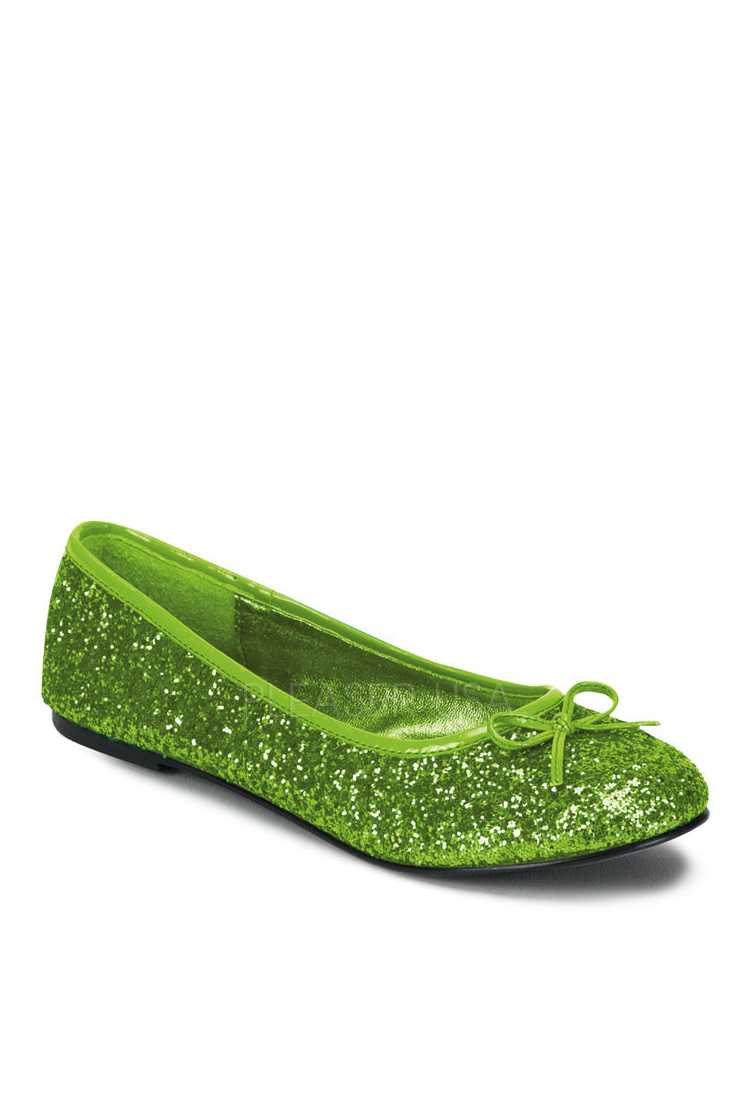 Lime Green Bow Tie Closed Toe Flats Glitter