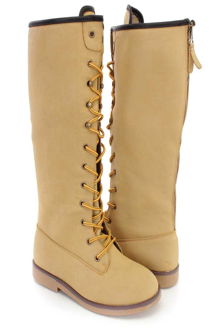 Camel Lace Up Flat Boots Nubuck Faux Leather