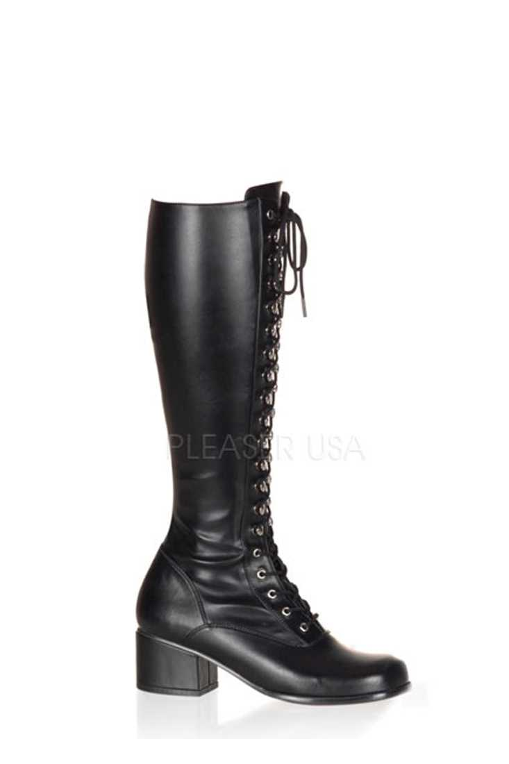 Black Lace Up Chunky Heel Boots Faux Leather