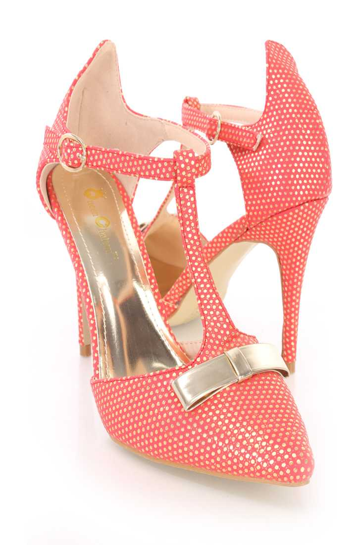 Red Bow Tie T Strap Single Sole High Heels Faux Leather